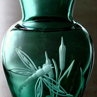 Dragonfly Hand Engraved Vase, Emerald Green. This little vase is a nice accent to any room in the home