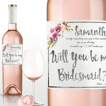 bridesmaid gift for wedding invitation personalized wedding favor wedding gift will you be my bridesmaid gift proposal sticker wine labels
