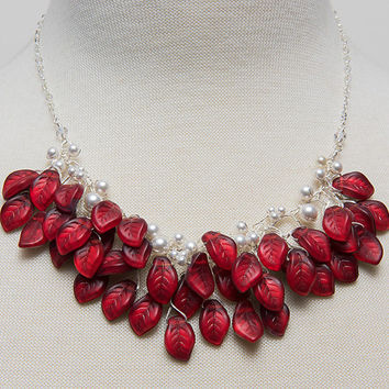 Red and White Bib Necklace, Red Beaded Necklace with Leaves, Red Leaf Necklace, Red Bridal Necklace, Red Nature Jewelry