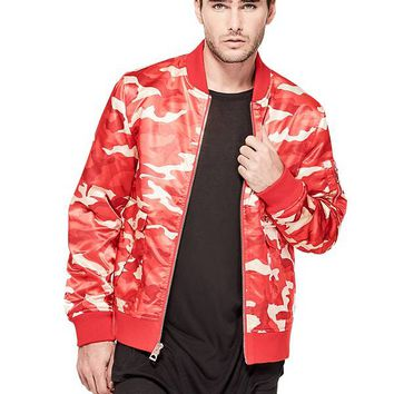 Alpine Camo Bomber Jacket at Guess