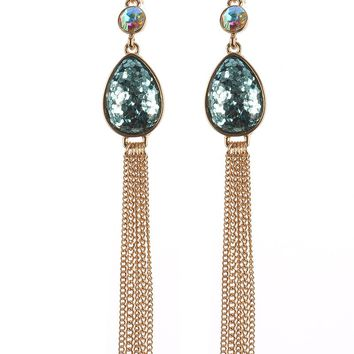 Aqua Blue Glitter Finish Teardrop Chain Tassel Earring