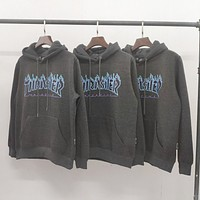 Thrasher New fashion flame letter print couple hooded long sleeve sweater top Gray