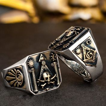 925 Silver Skull & Bones Pillars Masonic Ring [Laser Text Engraving]