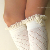 Lacey Sock - off-white boot socks - open-knit socks - Diamond patterned - lace socks (item no: 10-16)