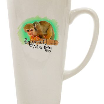Squirrel Monkey Watercolor Text 16 Ounce Conical Latte Coffee Mug