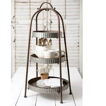Rustic Primitive Style Metal Trays Three Tiered Round Display Stand Holders