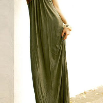 Green Halter Maxi Dress