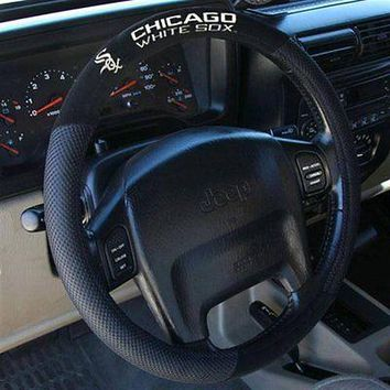 CHICAGO WHITE SOX BLACK MESH CAR AUTO STEERING WHEEL COVER NEW  SHIPPING