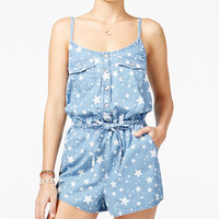 American Rag Star-Print Denim Romper, Only at Macy's - Juniors Jumpsuits & Rompers - Macy's