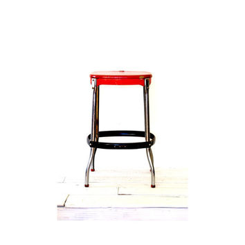 Metal Industrial Shop Stool - Red
