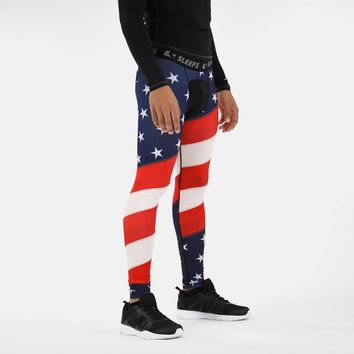 Classic USA American flag Tights for men