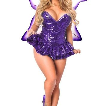 Daisy Top Drawer Premium Sequin Purple Fairy Corset Dress Costume