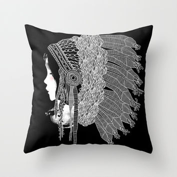 Native Indian Headpiece Throw Pillow by Budi Satria Kwan