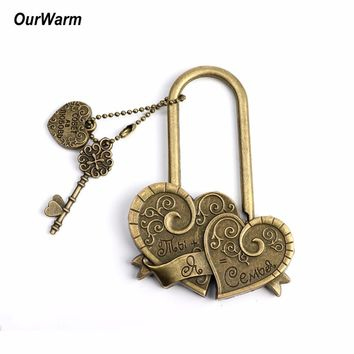 OurWarm Wedding Souvenirs and Gifts Love Lock Engraved Double Heart Concentric Wish Lock You+me=family Castle Wedding Decoration