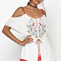 Somedays Lovin Leonie Embroidered Cold Shoulder Romper at PacSun.com
