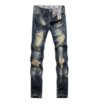 Men Stylish Ripped Jeans Biker Classic Skinny Slim Straight Denim Jeans