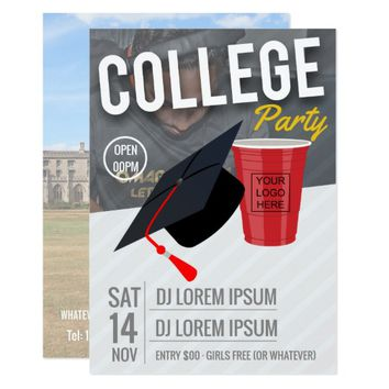 College Party announcement add logo and photos