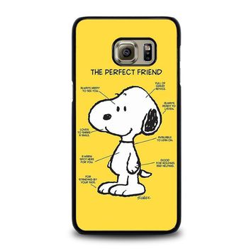 snoopy dog perfect friend samsung galaxy s6 edge plus case cover  number 1
