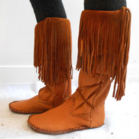 Tall Fringe Moccasin Boots, Handmade Leather Moccs, Native American, Powwow, Mountain Man, Hippie Fashion, Hand Sewn Shoes, Rendezvous