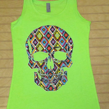 Ladies Jersey Tank Top Skull Tribal