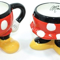 "Disney Parks ""Best of Mickey"" Mickey & Minnie Pants/Skirt Ceramic Mug - Disney Parks Exclusive & Limited Availability - BONUS 2 Single Cup Arabica Instant Coffee Packets Included"