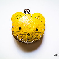 Funny and Cute Yellow Kitty Wallet Coin Purse - Cute Kids coin purse - Girls change purse