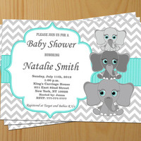 Baby Shower Invitation Elephant Baby Shower Invitations Baby Shower Invites (A01) - Free Thank You Card - Instant Download