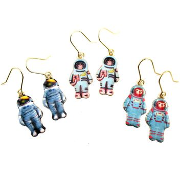 Monkey Sloth Astronaut in A Space Suit Space Travel Themed Dangle Earrings