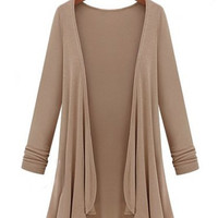 Casual Style Collarless Long Sleeve Solid Color Knitted Cardigan