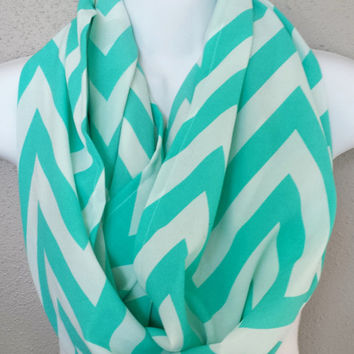 Turquoise & White Chevron Infinity Scarf Womens Fashion Spring Scarves Girls Chevron Infinity Scarves Teal Chevron Print Scarf