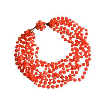 Pre-owned Citrus Orange 8-Strand Plastic Necklace 1960s