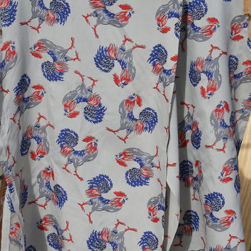 Vintage 40s Rooster Silk Fabric Rare 1940s Grey Lingerie Small Project Sewing Material