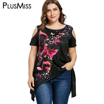 Tops and Tees T-Shirt PlusMiss Plus Size 5XL 4XL Musical Note Butterfly Print Cold Shoulder T-shirt Summer 2018 Women Black Loose Long T Shirt Top Tee AT_60_4 AT_60_4