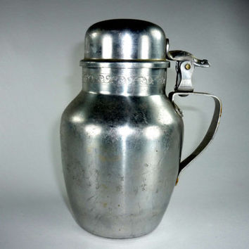 Vintage Aluminum Syrup Pitcher with Scroll Pattern