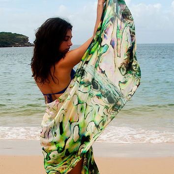 New Zealand Paua Shell Women's Shawl, Scarf, Vest, Sarong. Original design digital print on silk chiffon - Iridescent-look. Australian made