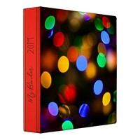 Multicolored Christmas lights. Add text or name. 3 Ring Binder