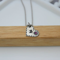Hand Stamped Jewelry / Pewter Family Birthstone Initial Necklace / Birthstone Pendant Necklace