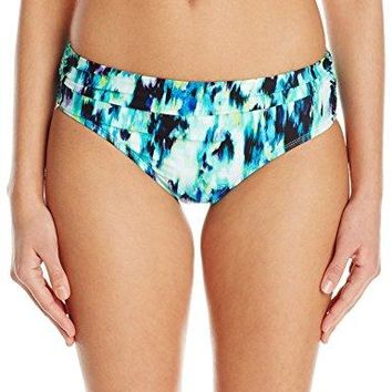 Kenneth Cole New York Womens Shirred Band Hipster Bikini Swimsuit Bottom