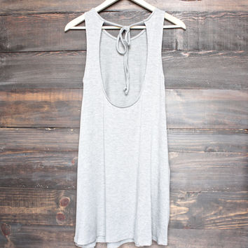 BSIC - solid jersey open back swing dress with pockets - grey