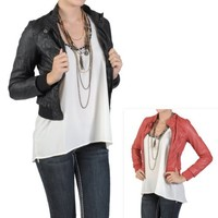 Hailey Jeans Co Juniors Crinkled Zippered PVC Leather Jacket