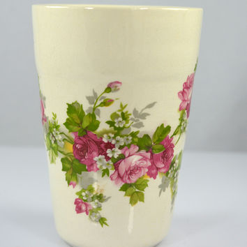 Vintage Ironstone Tumbler or Vase England Pink Roses Pink Roses Country French Summer Memories