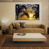 Miami Sunset Portrait Canvas Print 3 Panels Print Animal Wall Decor Fine Art Photography Repro Print for Home and Office Wall Decoration