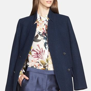 Women's Nordstrom Signature and Caroline Issa Double Breasted Wool Peacoat,