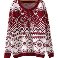 Burgundy Geometric Patterns Print Knit Sweater