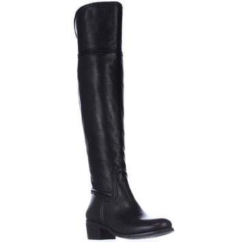 Vince Camuto Baldwin Round Toe Over the Knee Boots, Black, 4.5 US