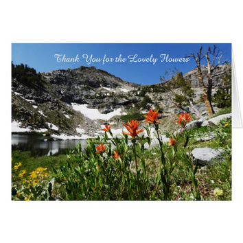 Thank You For Lovely Flowers, Note, Mountains Card