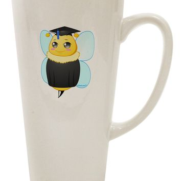 Graduation Bee 16 Ounce Conical Latte Coffee Mug by TooLoud