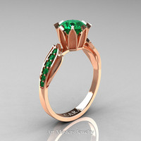 Cara 14K Rose Gold 1.0 Ct Emerald Designer Solitaire Ring R423-14KRGEM