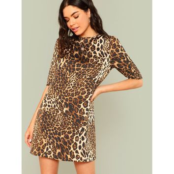 Leopard Print Keyhole Button Back Dress