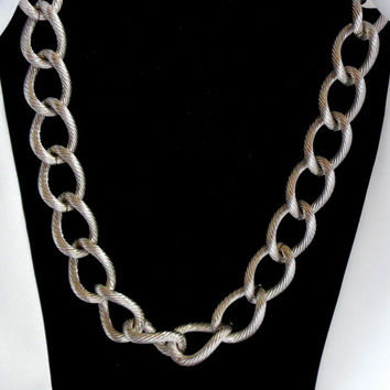 Monet Necklace Large Chunky Silver Chain